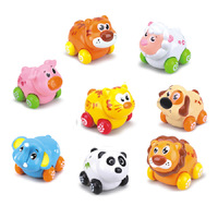 FREE SHPPING(8pcs/set)   Department of music mischarges 376 small animal fun animal toys cartoon friction   inertia  car style
