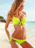 Free shipping women hot sexy cheap push up bikini swimwear, white/green/yellow, adjustble bandeau