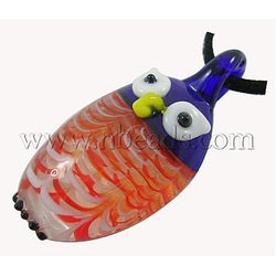 New Shop Discount Handmade Lampwork Pendants, Blue, Owl, For Halloween Jewelry Making, 25mm wide, 50mm long, hole: 6mm(China (Mainland))