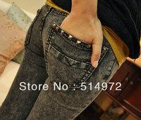 Best selling!!rivet elasticity slim women pencil pants black grey snowflake lady skinny pants female denim pants free shipping