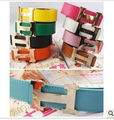Free Shipping Fashion Charm Candy Letter Unisex Gold Buckle Belt