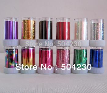 12 rolls nails sticker colored aluminum nail transfer foil paper wholesale
