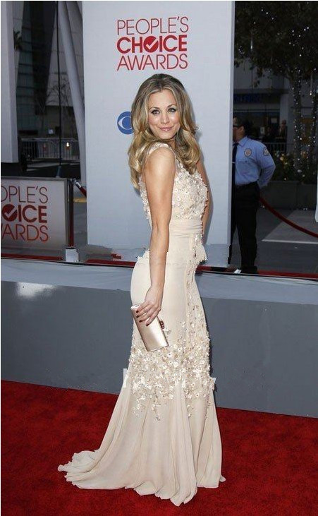 Kaley Cuoco Champagne Evening Gown Celebrity Dress Peoples Choice