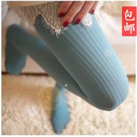 Plus size women's autumn and winter thin vertical stripe pantyhose legging stockings multicolour socks