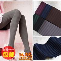Autumn and winter women's velvet legging socks plus size small twist stripe pantyhose