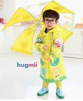 Hugmii child rain gear set kids raincoat + umbrella + rain boots Size S M L  FREE Shipping