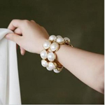 Min Order 15$ Free Shipping New Arrival Double Row Imitate Pearl Charm Braclets 2013 Good Quality Wholesale Hot HG0552
