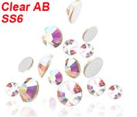 1400 PCS 2MM flat back acrylic rhinestones 3d nail art decorations cell phone rhinestone stickers Gems Clear AB SS6 Wholesale