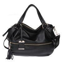 Women's tassel genuine leather handbag portable one shoulder cross-body first layer of cowhide big bags free shipping wholesales