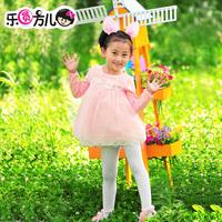 Circular female child autumn long-sleeve knitted cotton high waist one-piece dress doll princess dress