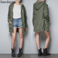 Leopard print wool liner hooded slim waist Army Green trench leopard print patchwork parker outerwear 6 full