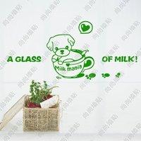 Wall stickers beautiful child cartoon stickers cup milk