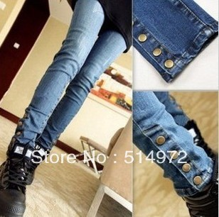 Best selling!!2013button decoration women pencil pants slim ladies skinny jeans female denim pants Free Shipping