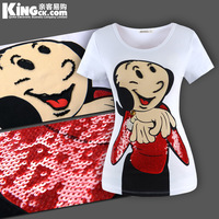 Cartoon 2013 oliver paillette summer white short-sleeve T-shirt medium-long plus size for women top tees