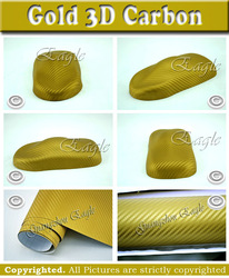 Gold 3D Twill Weave Carbon Fiber Vinyl Sheet Size: 0.5*1.5m/pc / FREE SHIPPING by China air mail(China (Mainland))
