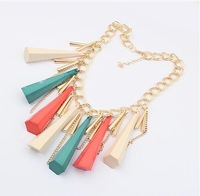 Fashion Luxury Exaggerated Multicolor Tapered Gold Pendant Necklace Z-TE02 Free Shipping
