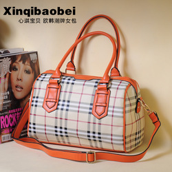 HOT SALE! FREE SHIPPING Baby 2013 fashion female bags vintage bag dimond plaid handbag color block leather buckle on work bag(China (Mainland))