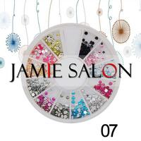 Nail Art Acrylic Round Rhinestones Glitter Gems Decoration Wheel Set Size: 2mm #07