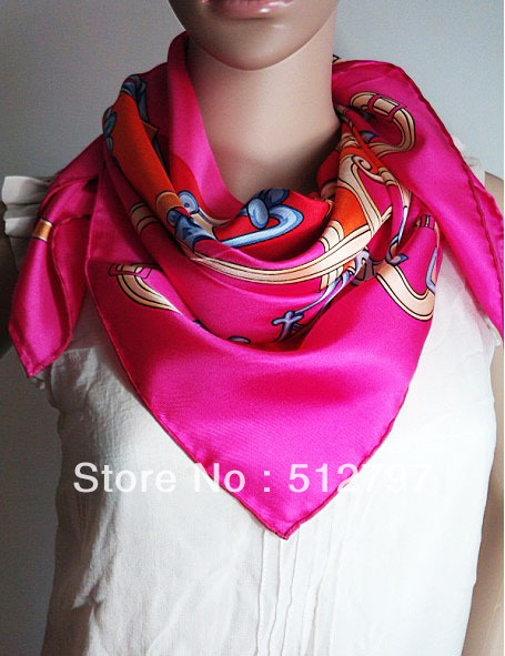 Shiny Silk Muslim scarf 2013 100% Pure twill silk 5 colors Hand rolled edge 90X90cm square scarves Hijab scarf(China (Mainland))