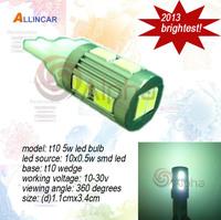 2013 new arrival 5w 5630 smd led auto light t10 wedge led bulb 5w car door lights 5630 led position lights