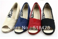 wholesale lady canvas pumps wedge heel platform sandal pure color free shipping