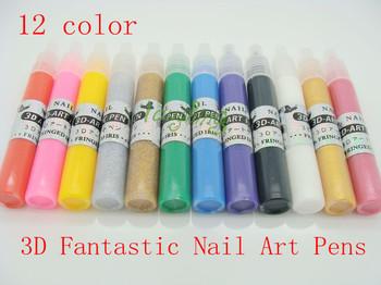 UV Gel Acrylic Design 3D Paint Nail Art Pen NailPolish 12 Different Colors Nail Polish Free Shipping #01