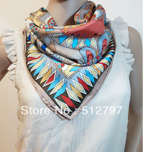 Shiny Silk Cheap 100% Pure twill silk 5 colors Hand rolled edge 90X90cm square scarves Hijab scarf(China (Mainland))