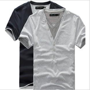 V-neck off two pieces of foreign trade men shirt black usa the original single men's short sleeve T-shirt splicing T025