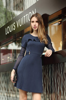 2013 fashion new Korean version of flounced stitching lace sleeves star models Slim was thin dress 0770 Free Shipping