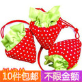 Min order $10.(mix order) Strawberry shopping bag eco-friendly folding strawberry shopping bag tote Free shipping