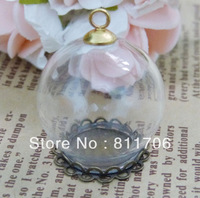 20*30mm round clear glass bubble vial+silver /bronze/gold end cap(you can choose color)+20mm lace tray