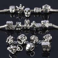 Bulk Mixed Tibetan Silver Large Hole European Beads Findings Fit Charms Bracelet