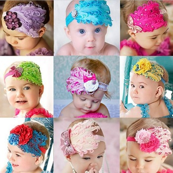 1pc /lot Infant Baby Toddler Feather Flower Diamond Bow Kids Headband Soft Headwear Hair Band For Children Gift DP300015