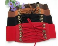 Women Cincher Rivet Elastic Buckle Wide Waist Belt Band Waistband Waspie Corset