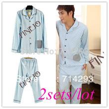 2sets/lot New Luxury Men's Cotton Pajamas Long sleeves Sleepwear Lover Sleepwear  free shipping 11295_M(China (Mainland))