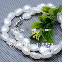 Free shipping! 8-9mm White Pearl Necklace 925 Silver Lobster Clasp NJ224190