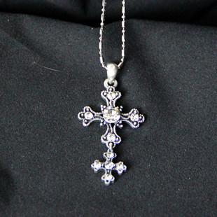 Fashion vintage double cross long necklace design lctcause