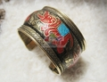 BB-428  New Arrival 2013! Indian Hand painted Elephant open cuff Superwide bangle,Bollywood metal antiqued bracelet
