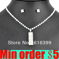 (Min order $5,can mix) Top Quality Bride Necklace Earrings Set Rhinestone Bridal Jewellery Set Free Shipping 6073