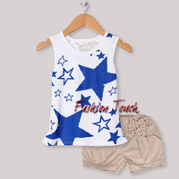 Baby Girl Clothing Set White Printed With Blue Star Tshirt  and  Brown Short PantsLittle Kids Summer Clothing Set CS30301-04^^FT