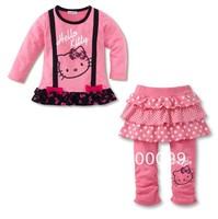 new Free Shipping,kids sets 5pcs/set girls clothing cartoon clothes 100% cotton long sleeve t-shirt+pantskirt hello kitty set