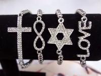 4PCS stacked bracelet sideway Cross Infinity Love  Silver  Stretch bracelet  Mix $10