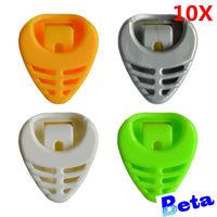 freeshiping 10pcs/lot nice Colorful Plastic Big Triangle Guitar Picks Holders Colorful  Pick Plectrum Holder Case Box Portable