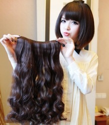 "22""cute fashion girl's hyperthermia Hair Extention lady's fashion natural synthetic 5- clips width 25cm 6 colors free Shipping(China (Mainland))"