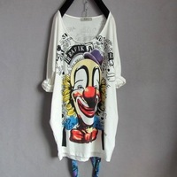 Eat Pray Love  Free Shipping,  plus size clothing backwa-rds and print clown long design loose t-shirt