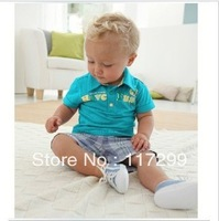 NEW!! Free Shipping!! 2013 5pcs/lot- male treasure leisure letters lapel short-sleeved T + plaid pants suit wholesale