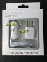 Free shipping 3 in 1 travel kit mini USB charger for iphone 5,US/EU Plug Home Charger, Car Charger, 8 Pin USB Cable for Iphone 5