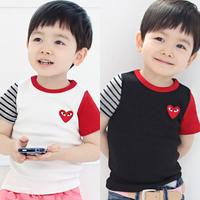 2013 summer love stripe child clothing baby boys short-sleeve T-shirt 5440