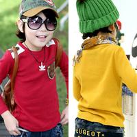 2013 spring decorative pattern pocket child baby boys clothing long-sleeve T-shirt 5205 basic shirt