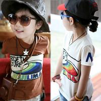 2013 summer children's clothing spoondrifts multicolour baby child boys child short-sleeve T-shirt 4602 basic shirt